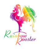 Rainbow Rooster. Stock Photo