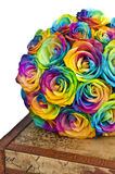 Rainbow roses bouquet on box. Bridal bouquet with rainbow roses on box Royalty Free Stock Image