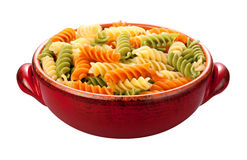 Rainbow Rotini Pasta isolated Stock Photos