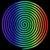 Rainbow round abstract vortex hypnotic spiral. royalty free illustration