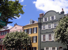Rainbow row. Row of houses in historic charleston south carolina royalty free stock photos