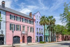 Rainbow Row in Charleston. Colorful houses on Rainbow Row in the state of South Carolina stock image