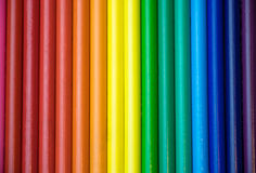 Rainbow Row of Colored Pencils. A row of colored pencils in rainbow order Royalty Free Stock Images