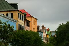 Rainbow Row in downtown Charleston. Some of the most colorful and oldest houses in Charleston, SC Stock Images