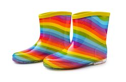 Free Rainbow Rubber Boots Isolated On White Background With Clipping Path Stock Photos - 141026213
