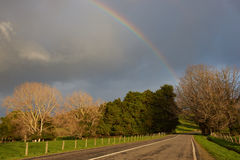 Rainbow in Rural Chile Stock Photo