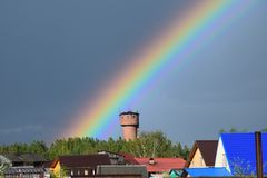 Rainbow in Russia stock image