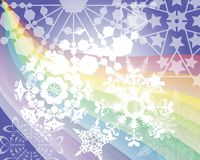 Rainbow's snow flakes Royalty Free Stock Photography
