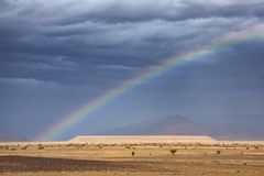 Rainbow in the Sahara desert. Stock Photography