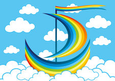 Rainbow sailboat floats in the clouds Royalty Free Stock Image