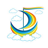 Rainbow sailboat floats in the clouds Stock Photography