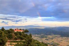 Rainbow on sakar passage in Mugla, Turkey. Rainbow on sakar passage with mountains in Mugla, Turkey Royalty Free Stock Photo