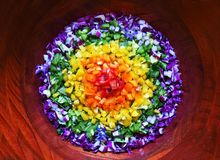 Rainbow salad with all the colors stock image