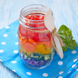 Rainbow salad in mason jar Stock Image