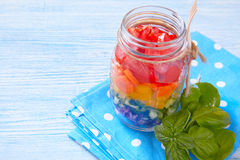 Rainbow salad in mason jar Royalty Free Stock Photos