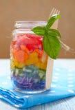 Rainbow salad in mason jar Stock Photos