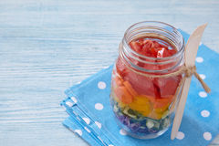 Rainbow salad in mason jar Royalty Free Stock Photo