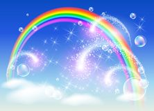 Rainbow and salute Royalty Free Stock Photos