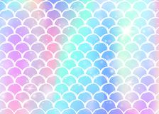 Rainbow scales background with kawaii mermaid princess pattern. Fish tail banner with magic sparkles and stars. Sea fantasy invitation for girlie party vector illustration