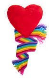 Rainbow scarf and red heartv Stock Images