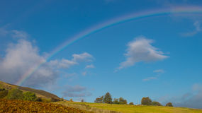 Rainbow. Scene over the fields stock images