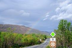 Rainbow on scenic road 51 horizontal Royalty Free Stock Photography