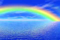 Rainbow in the sea Stock Photo