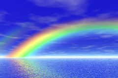 Rainbow in the sea Stock Image