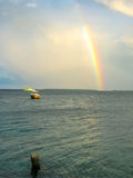 Rainbow on the sea background Royalty Free Stock Images