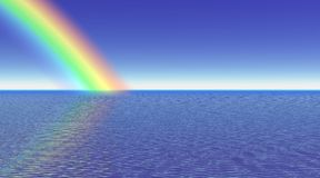 Rainbow and sea - 3D render. Rainbow over a deep blue sea by night Stock Image