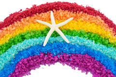 Rainbow from sea salt and starfish Stock Photography
