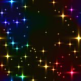 Rainbow seamless background with shining stars. Stock Image