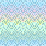 Rainbow seamless pattern abstract scales simple Spring Nature background with japanese wave circle pattern purple pink yellow blue. Green pastel colors light Royalty Free Stock Photography