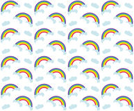 Rainbow seamless pattern. Colorful children`s endless background, repeating texture. Vector illustration. Stock Images