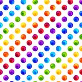 Rainbow Seamless Pattern of Colorful Circles on White Backdrop. Background in Colored Polka Dots. Patterned Motif stock illustration