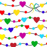 Rainbow seamless pattern with valentine hearts on white background Royalty Free Stock Photo
