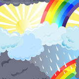 Rainbow seamless. Sun, rainbow and rainy clouds in the sky Royalty Free Stock Image