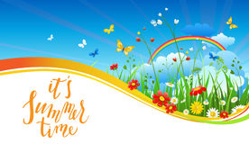 Rainbow season banner. Summer or spring template for design banner, ticket, leaflet, card, poster and so on. Green grass and flowers scenery vector illustration