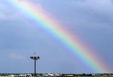 Rainbow Seen From Dallas International Airport Grey Cloudy Sky Royalty Free Stock Photography