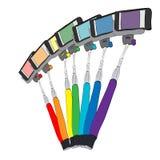 Rainbow of selfie equipment Royalty Free Stock Images