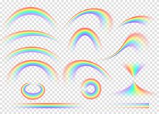 Rainbow set isolated on transparent background. Realistic rain arch. In different shape. Vector illustration vector illustration