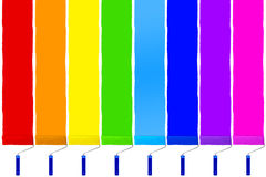 Rainbow set of paint roller Stock Photography
