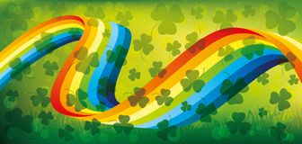 Rainbow and shamrocks. Rainbow and shamrocks on a green background for St. Patrick`s day Royalty Free Stock Photo