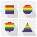 Rainbow shapes flags color icons set with long shadow Royalty Free Stock Photo