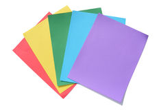 Rainbow Sheets of Paper. Colorful sheets of paper include purple, blue, green, yellow and red Royalty Free Stock Image