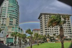 Rainbow shines over San Juan stock image
