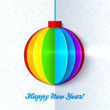 Rainbow shining colorful Christmas ball Stock Photo