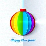 Rainbow shining colorful Christmas ball Stock Photo