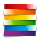 Rainbow shiny paper stripes banners with shadows Stock Photos