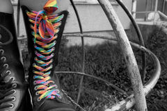 Rainbow shoe-string. In the Steel boot as a symbol of queer community Stock Photo